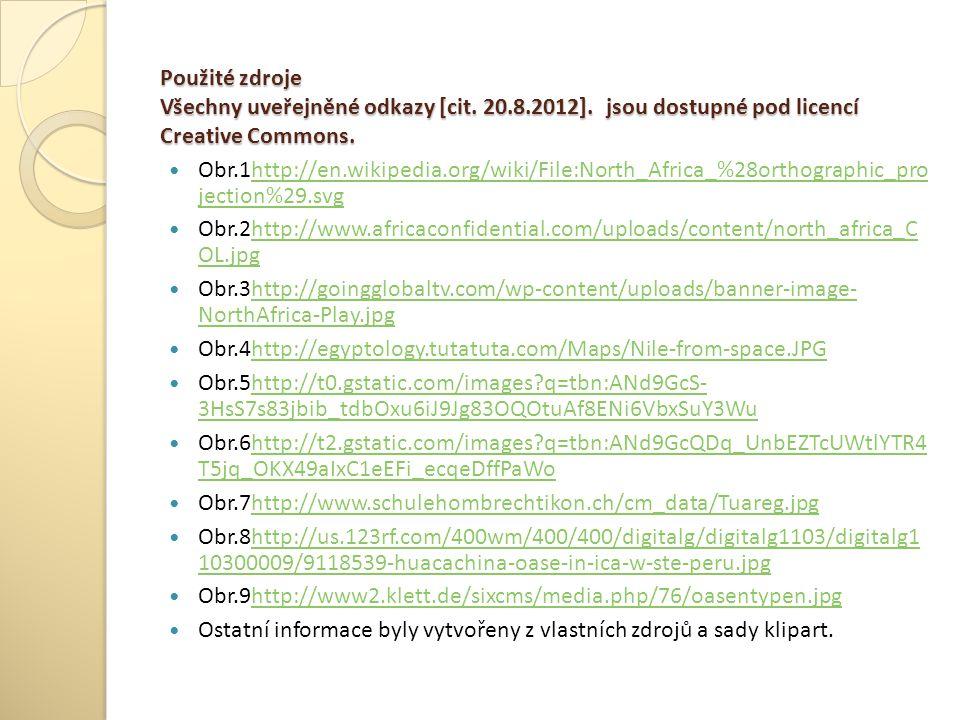 Použité zdroje Všechny uveřejněné odkazy [cit. 20. 8. 2012]